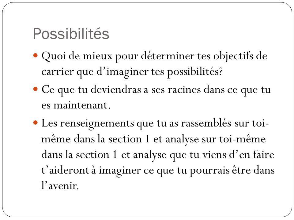 Possibilités Quoi de mieux pour déterminer tes objectifs de carrier que d'imaginer tes possibilités