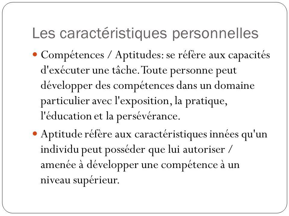 Les caractéristiques personnelles