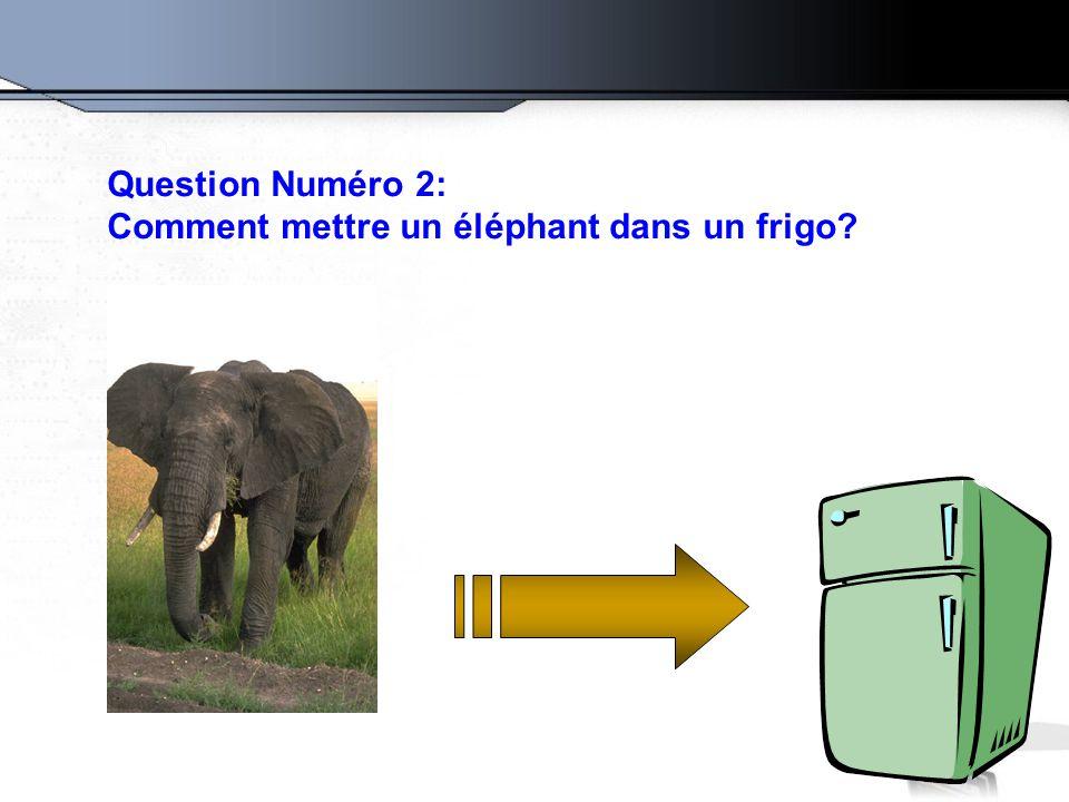 Question Numéro 2: Comment mettre un éléphant dans un frigo