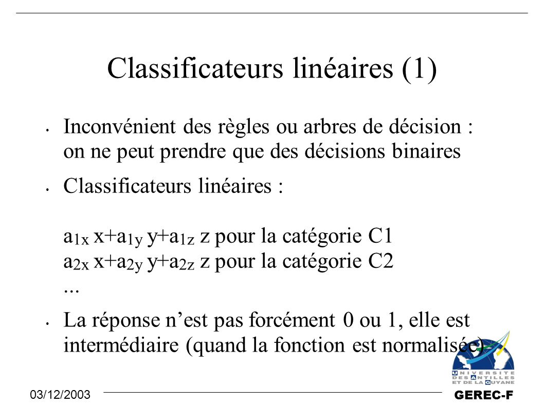 Classificateurs linéaires (1)