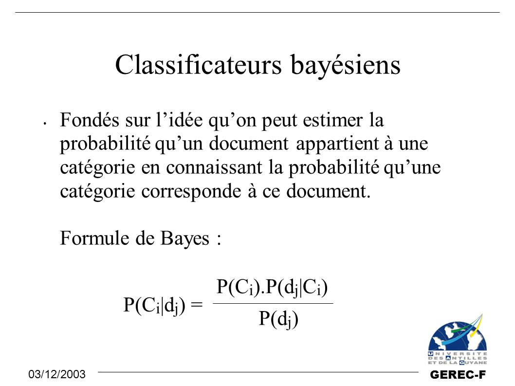 Classificateurs bayésiens