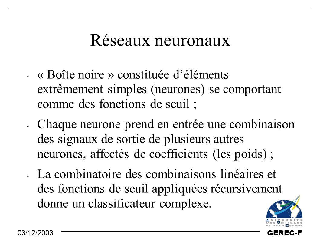 Réseaux neuronaux « Boîte noire » constituée d'éléments extrêmement simples (neurones) se comportant comme des fonctions de seuil ;