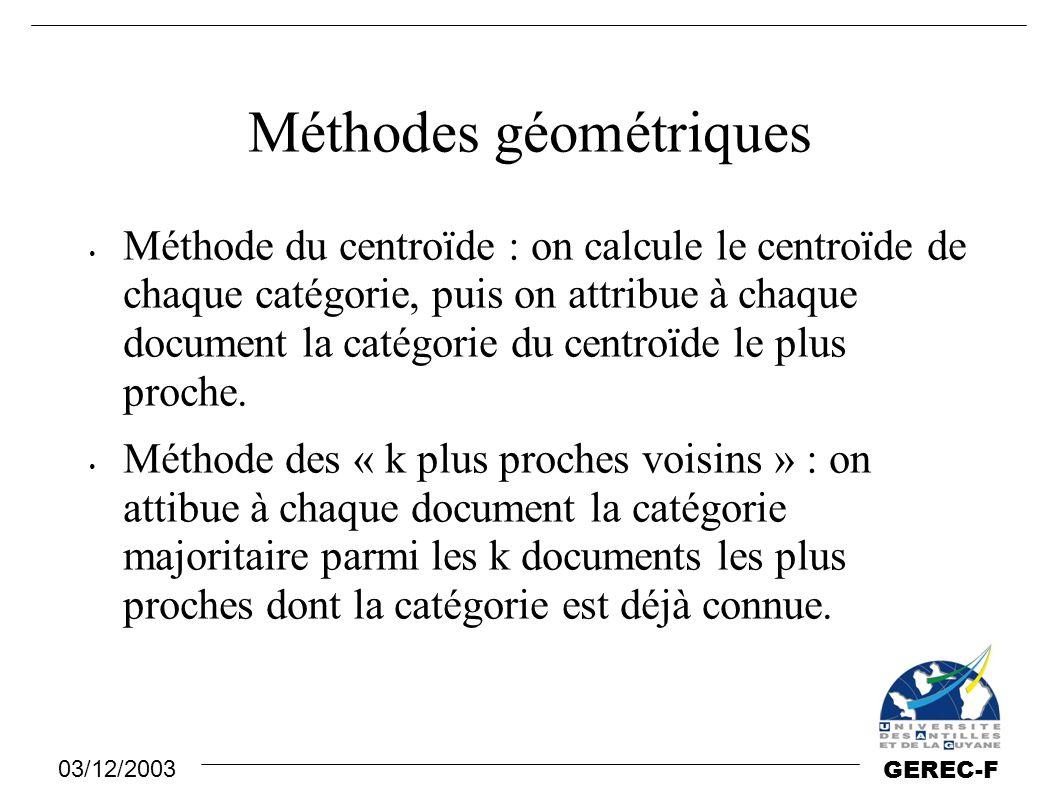 Méthodes géométriques