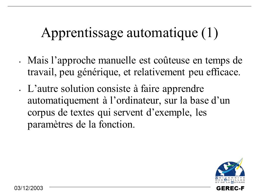 Apprentissage automatique (1)