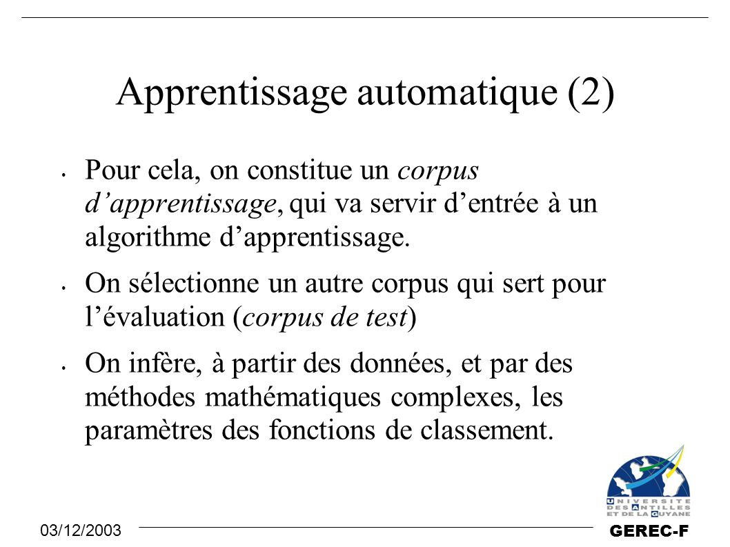 Apprentissage automatique (2)
