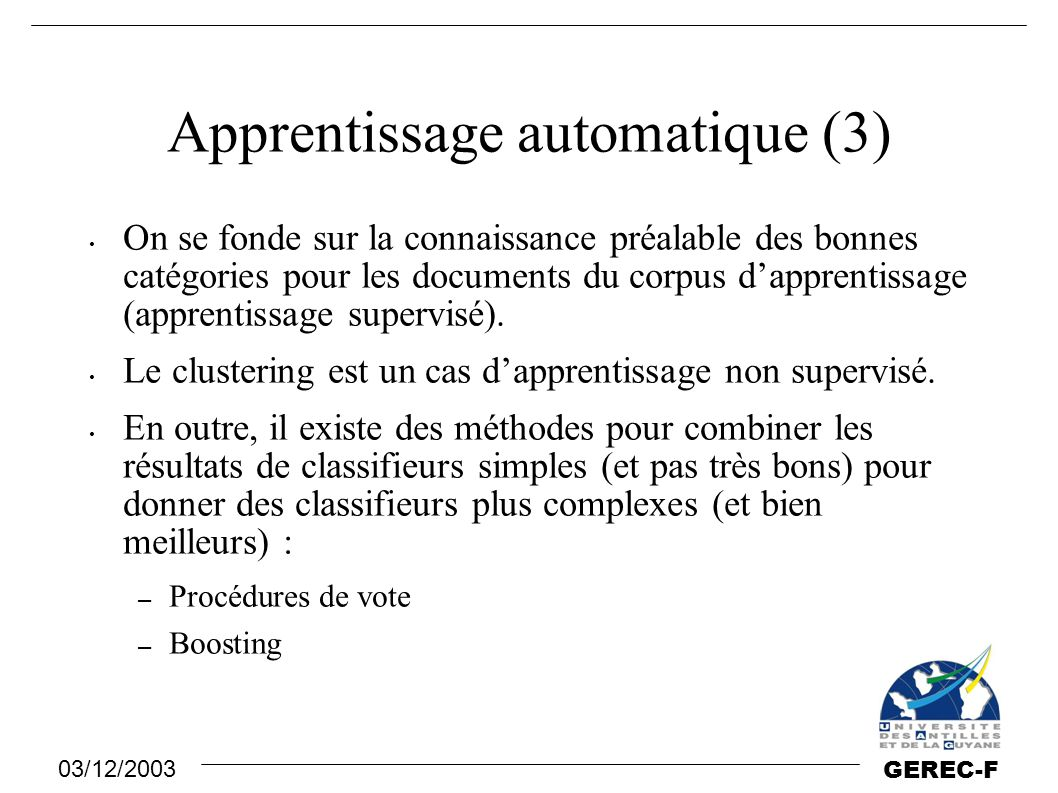 Apprentissage automatique (3)