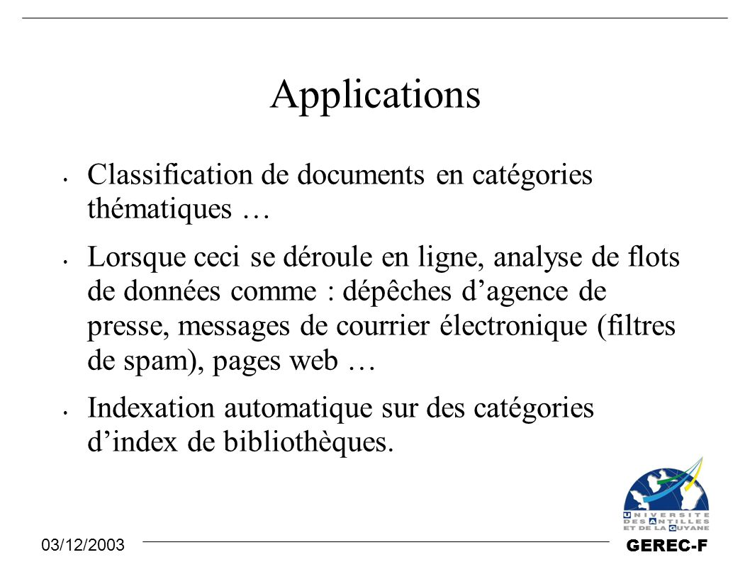 Applications Classification de documents en catégories thématiques …
