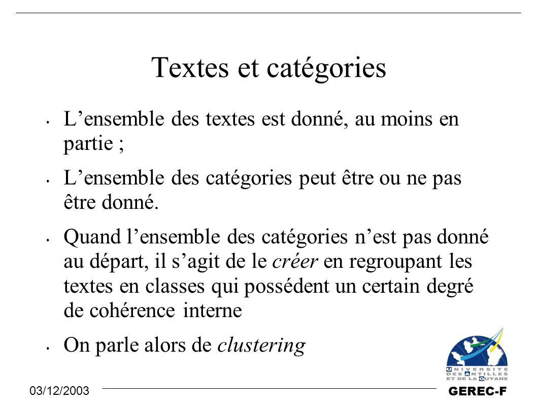 Textes et catégories L'ensemble des textes est donné, au moins en partie ; L'ensemble des catégories peut être ou ne pas être donné.