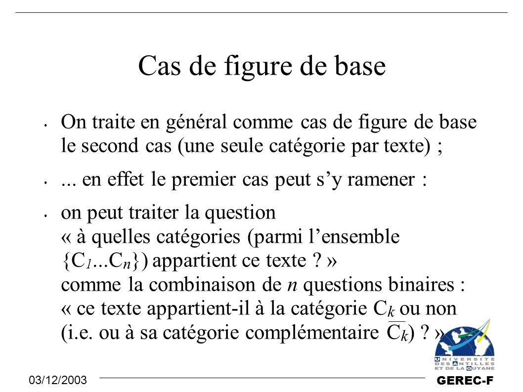 Cas de figure de base On traite en général comme cas de figure de base le second cas (une seule catégorie par texte) ;