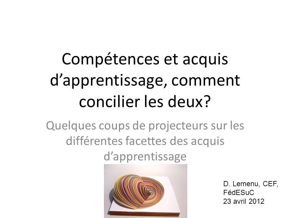 Compétences et acquis d'apprentissage, comment concilier les deux