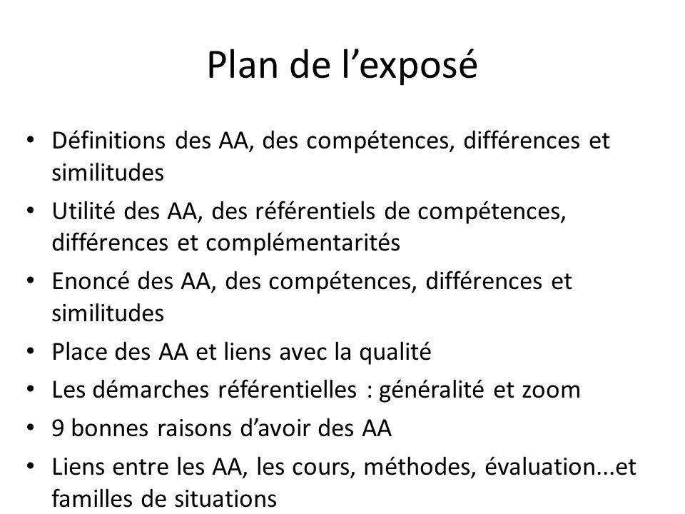 Plan de l'exposé Définitions des AA, des compétences, différences et similitudes.