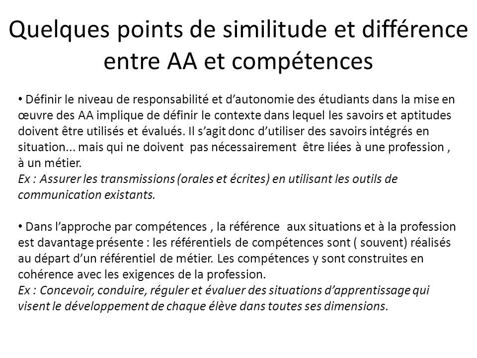 Quelques points de similitude et différence entre AA et compétences
