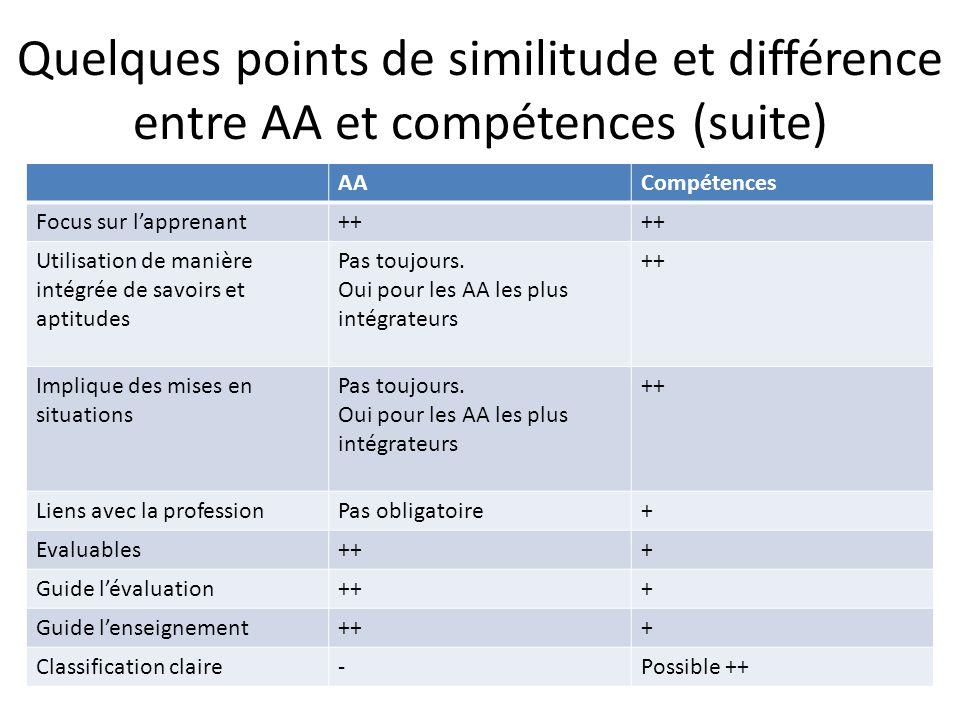 Quelques points de similitude et différence entre AA et compétences (suite)