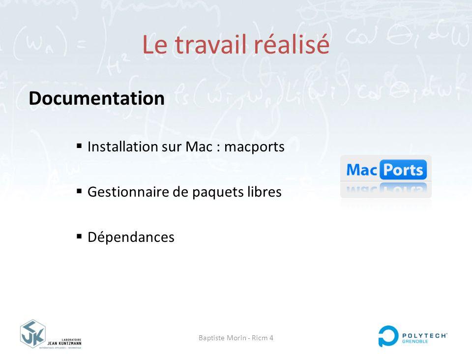 Le travail réalisé Documentation Installation sur Mac : macports