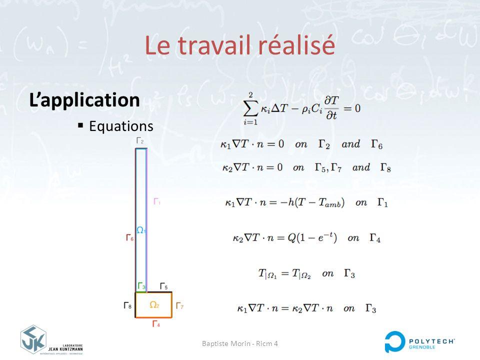 Le travail réalisé L'application Equations Baptiste Morin - Ricm 4