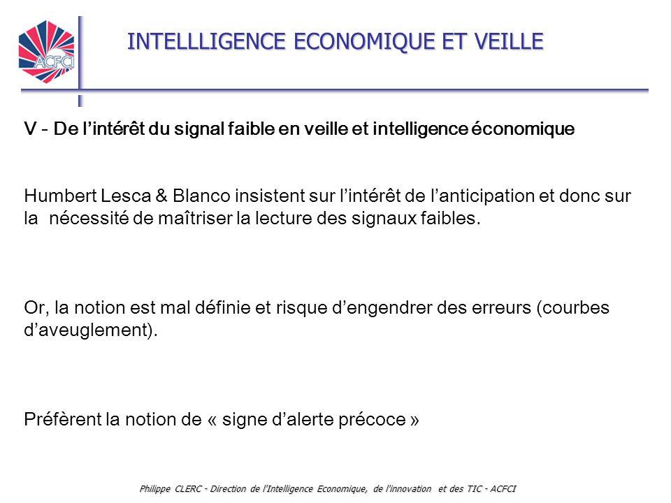 V - De l'intérêt du signal faible en veille et intelligence économique