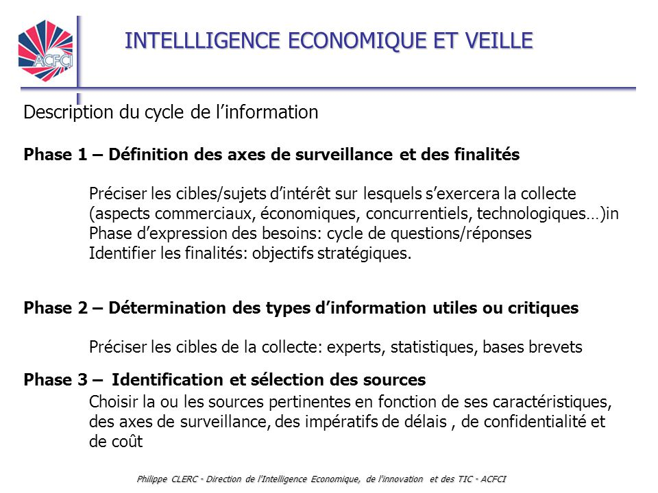 Description du cycle de l'information
