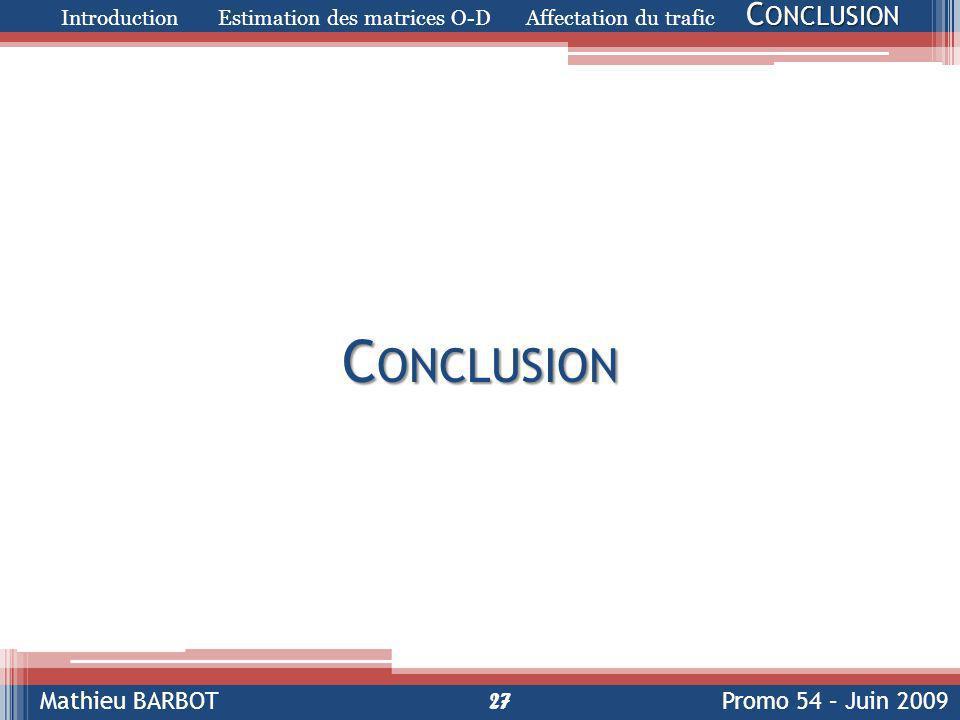 Introduction Estimation des matrices O-D Affectation du trafic Conclusion