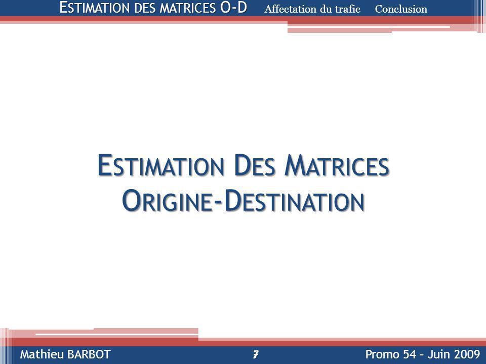 Estimation Des Matrices Origine-Destination