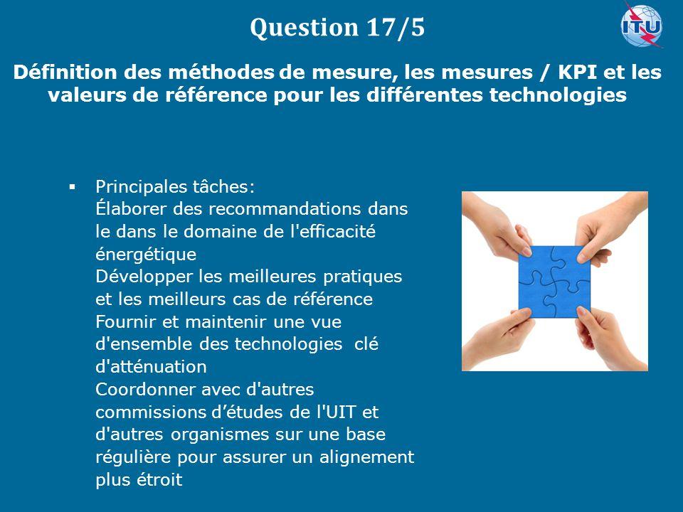 Question 17/5 Définition des méthodes de mesure, les mesures / KPI et les valeurs de référence pour les différentes technologies.