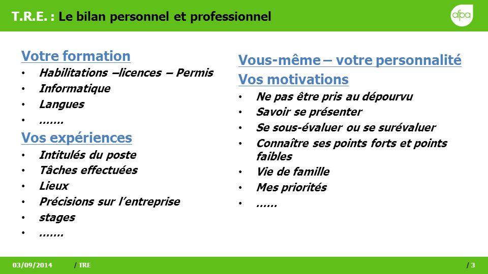 T.R.E. : Le bilan personnel et professionnel