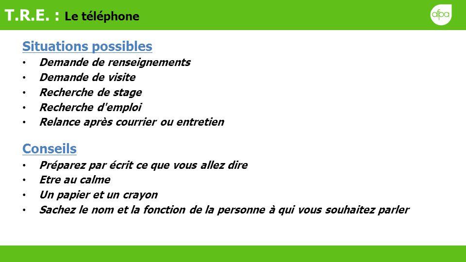T.R.E. : Le téléphone Situations possibles Conseils