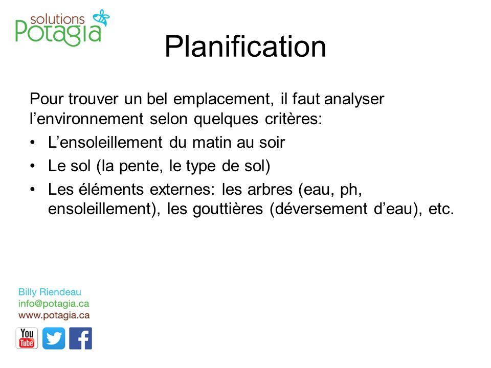 Planification Pour trouver un bel emplacement, il faut analyser l'environnement selon quelques critères: