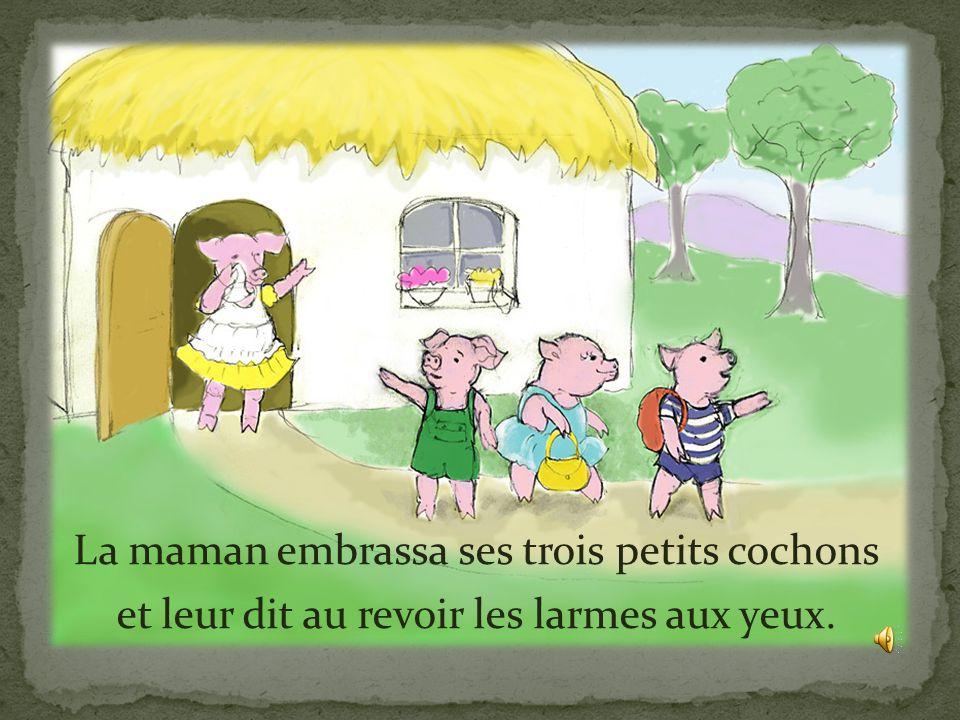 La maman embrassa ses trois petits cochons et leur dit au revoir les larmes aux yeux.