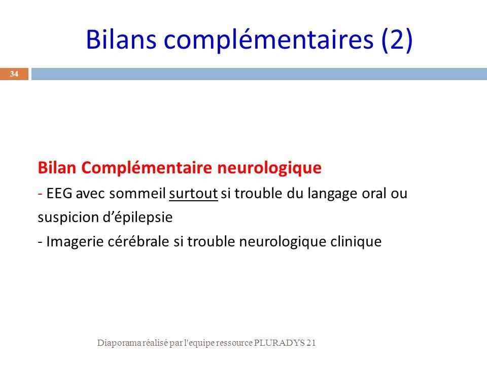 Bilans complémentaires (2)