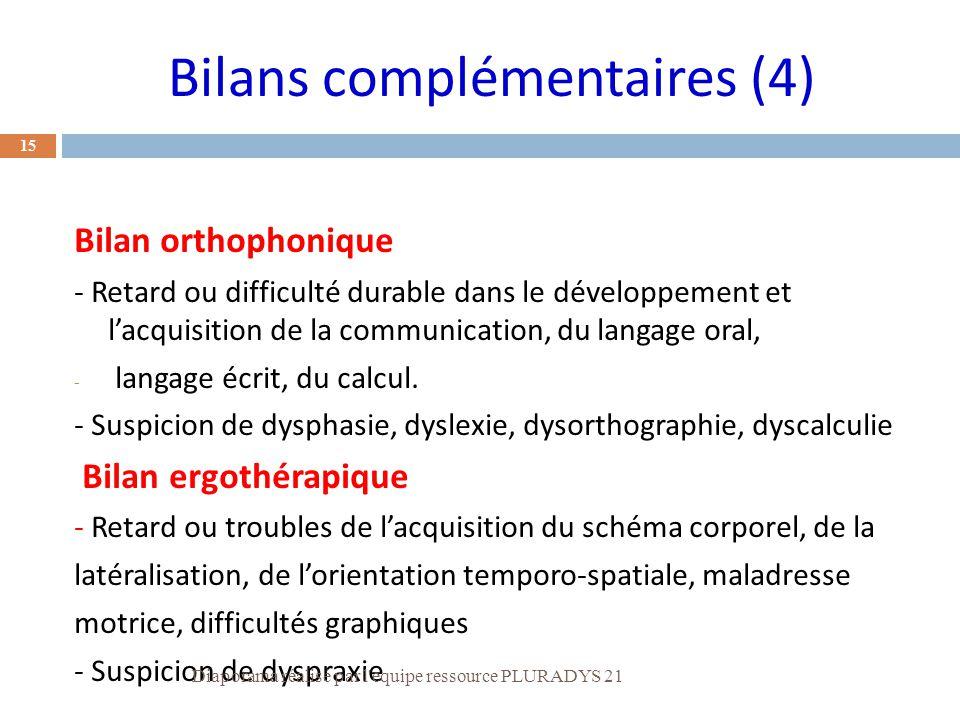 Bilans complémentaires (4)