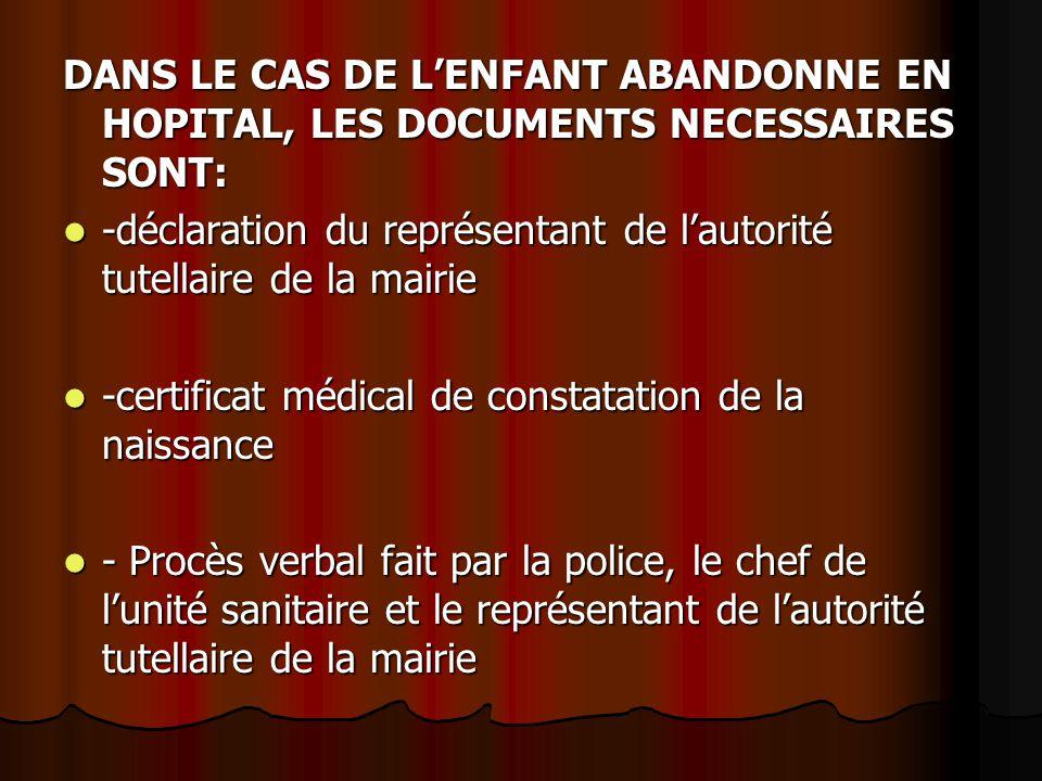 DANS LE CAS DE L'ENFANT ABANDONNE EN HOPITAL, LES DOCUMENTS NECESSAIRES SONT: