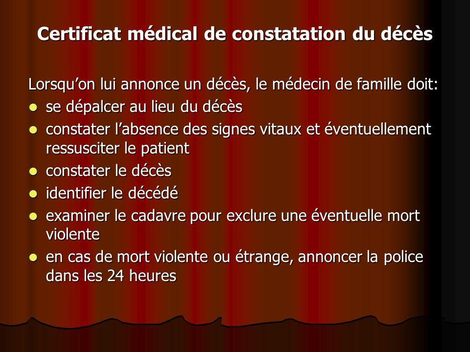 Certificat médical de constatation du décès