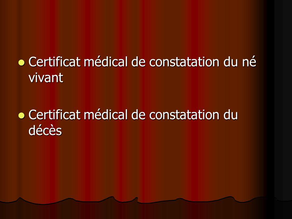 Certificat médical de constatation du né vivant