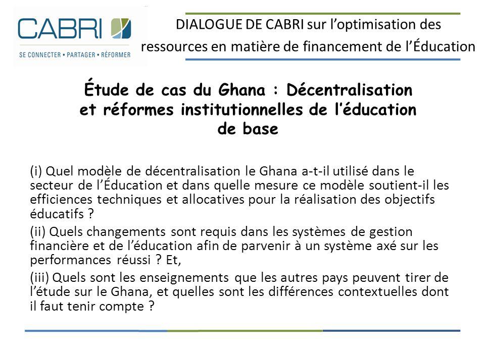 DIALOGUE DE CABRI sur l'optimisation des ressources en matière de financement de l'Éducation