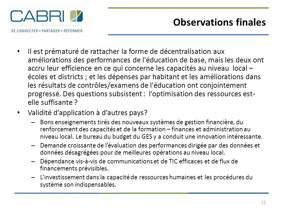 Observations finales