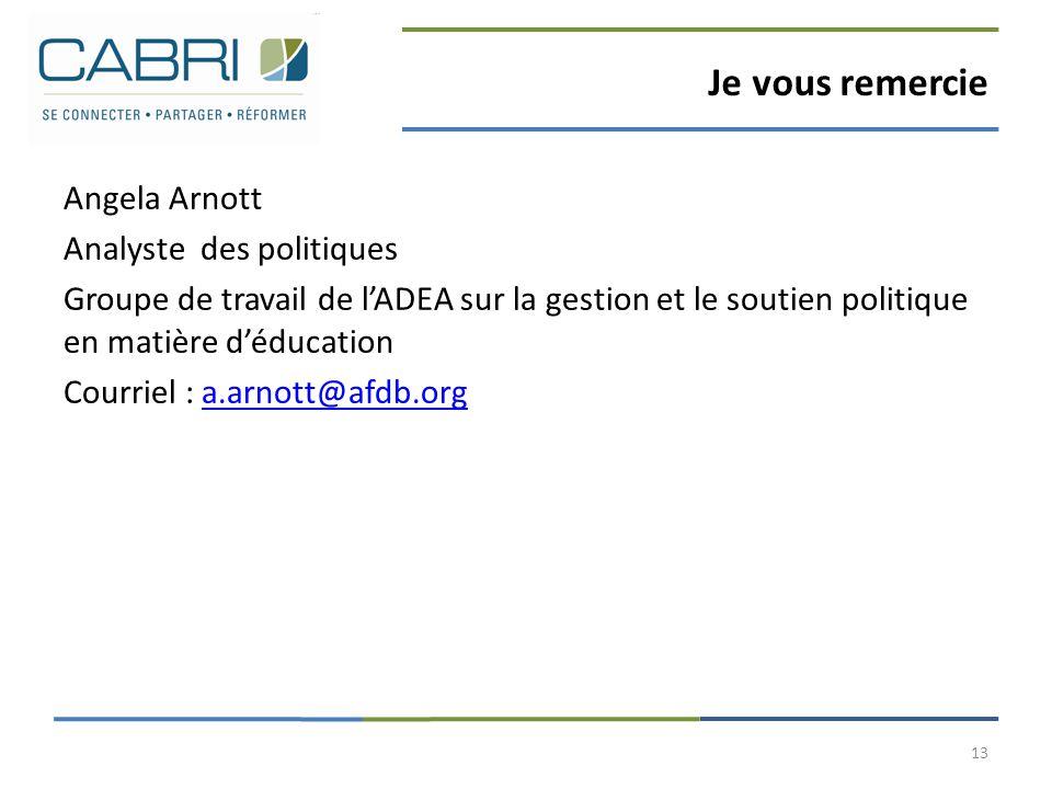 Je vous remercie Angela Arnott Analyste des politiques