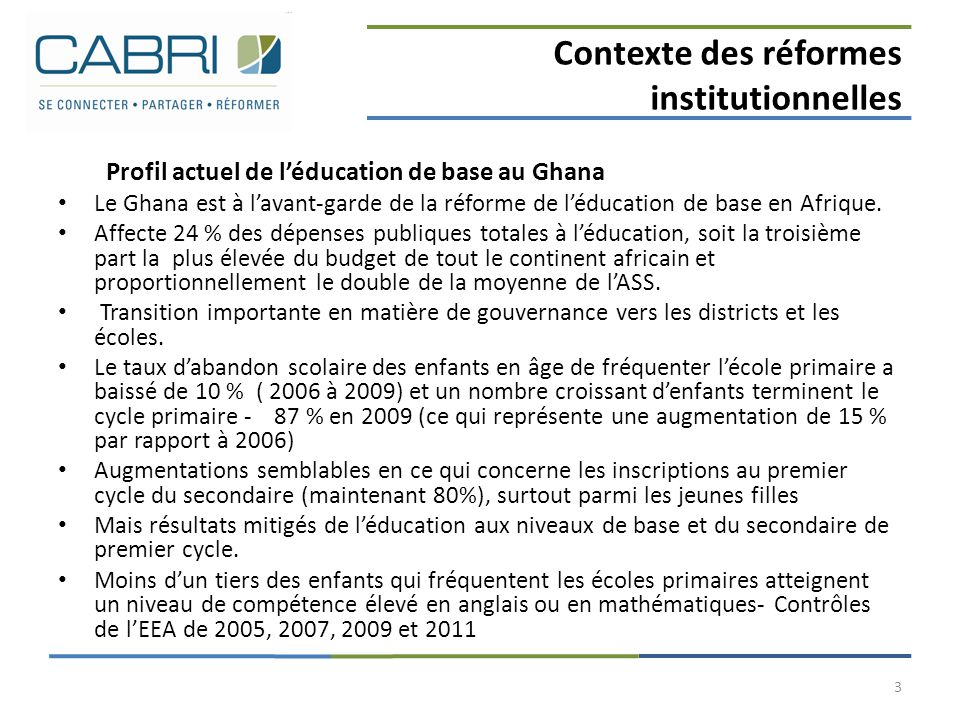 Contexte des réformes institutionnelles