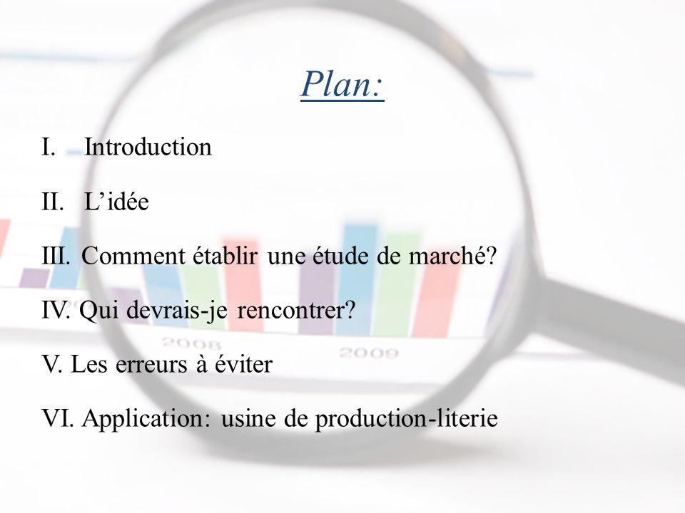 Plan: Introduction L'idée III. Comment établir une étude de marché