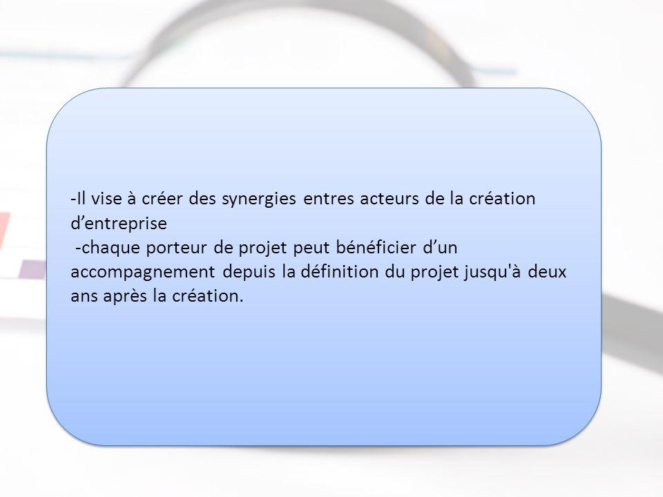 -Il vise à créer des synergies entres acteurs de la création d'entreprise