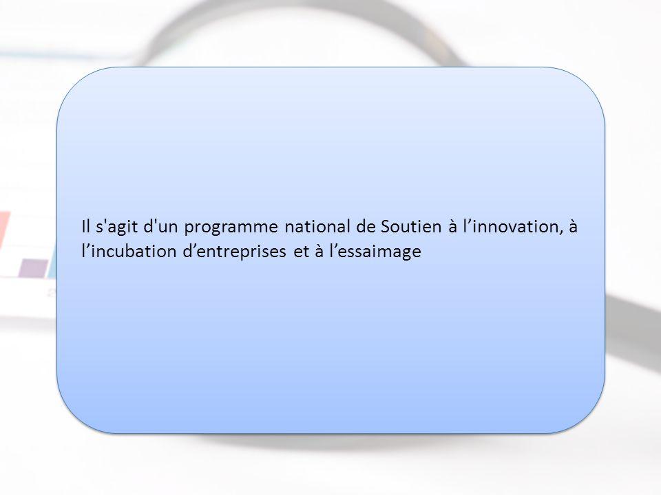 Il s agit d un programme national de Soutien à l'innovation, à l'incubation d'entreprises et à l'essaimage