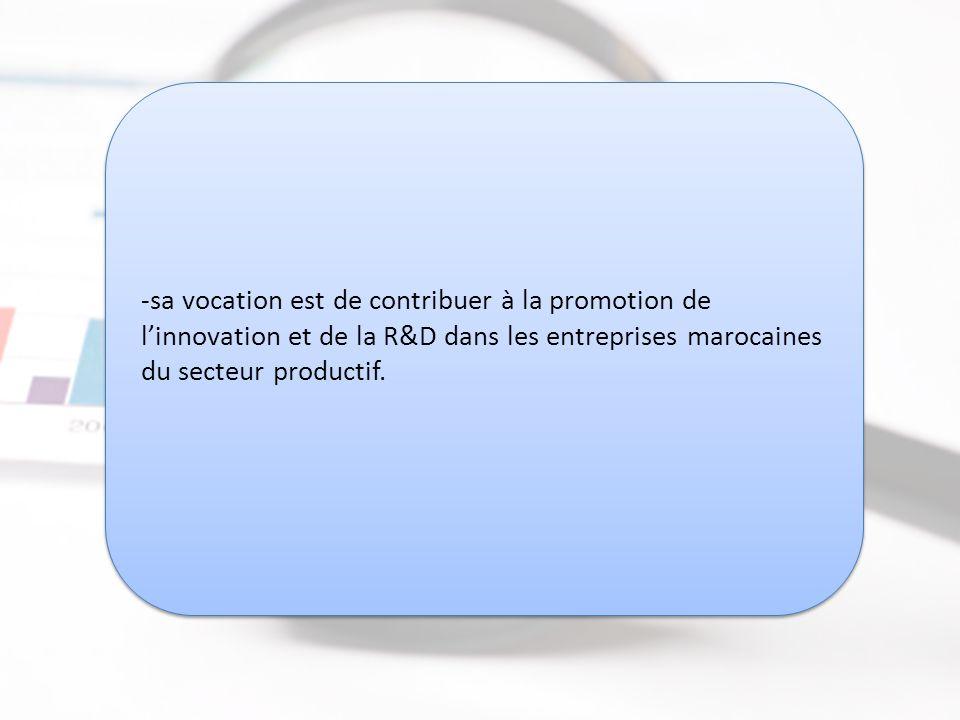 sa vocation est de contribuer à la promotion de l'innovation et de la R&D dans les entreprises marocaines du secteur productif.