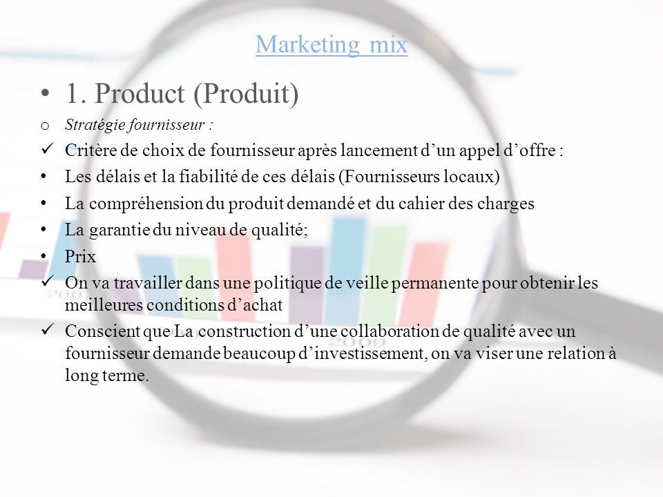 1. Product (Produit) Marketing mix