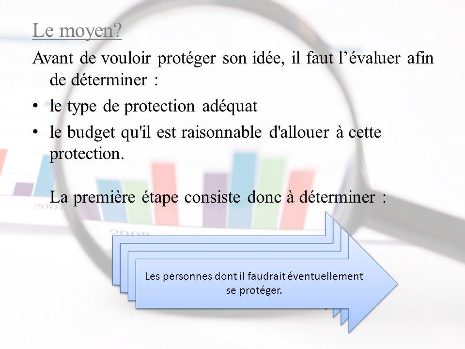 Le moyen Avant de vouloir protéger son idée, il faut l'évaluer afin de déterminer : le type de protection adéquat.