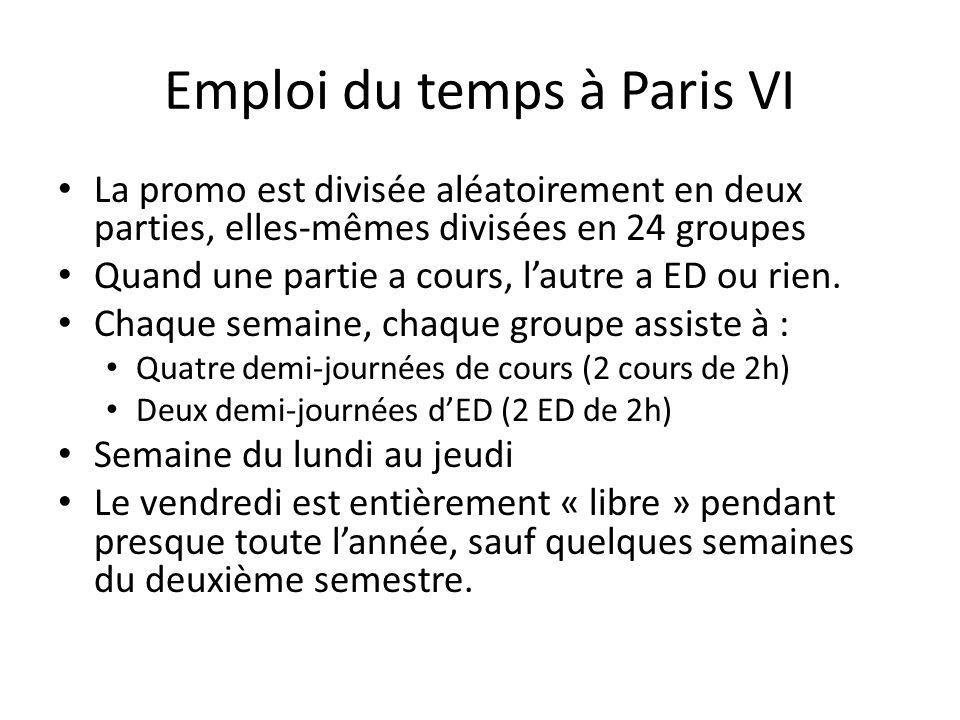 Emploi du temps à Paris VI