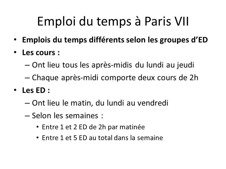 Emploi du temps à Paris VII