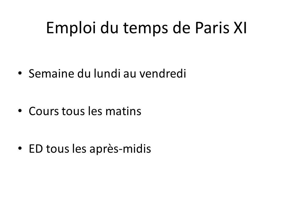 Emploi du temps de Paris XI