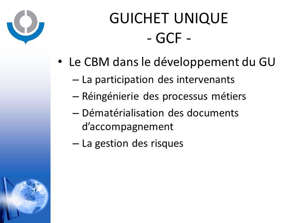 GUICHET UNIQUE - GCF - Le CBM dans le développement du GU