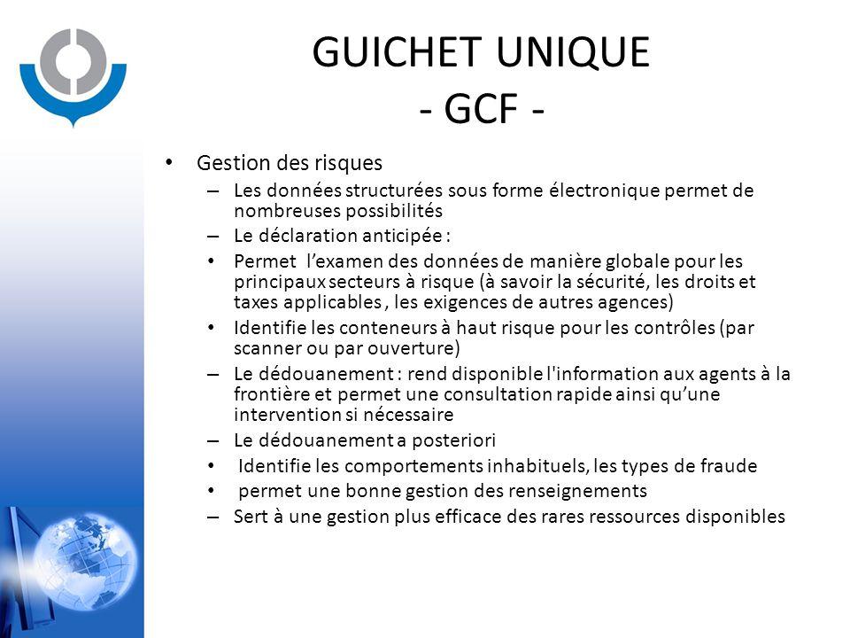 GUICHET UNIQUE - GCF - Gestion des risques