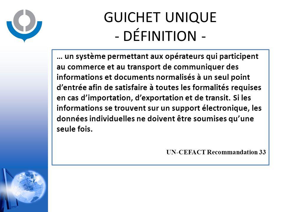 GUICHET UNIQUE - DÉFINITION -