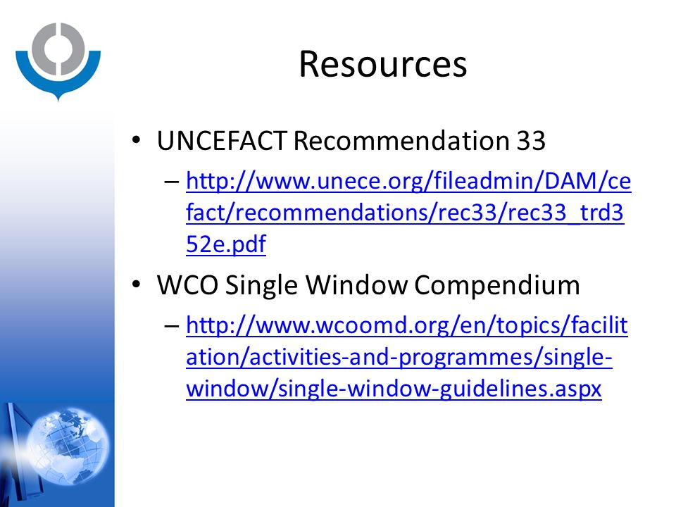 Resources UNCEFACT Recommendation 33 WCO Single Window Compendium
